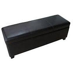 Black Bicast Leather Storage Ottoman Bench