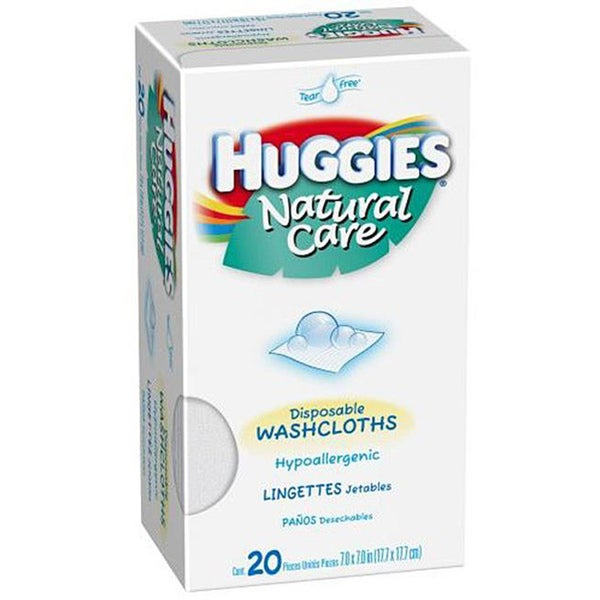 Huggies Natural Care Disposable 20 ct Hypoallergenic Washcloths (Pack of 4)