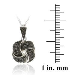 DB Designs Sterling Silver Black Diamond Accent Love Knot Necklace - Thumbnail 2