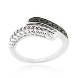 DB Designs Sterling Silver 1/10ct TDW Black Diamond Wave Ring