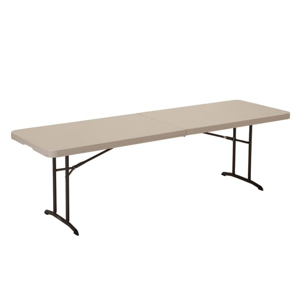 Lifetime Almond 8 Foot Fold In Half Table Free Shipping