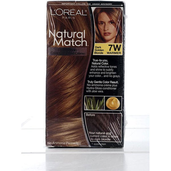 L'Oreal Natural Match #7W Dark Golden Blonde Hair Color (Pack of 4)