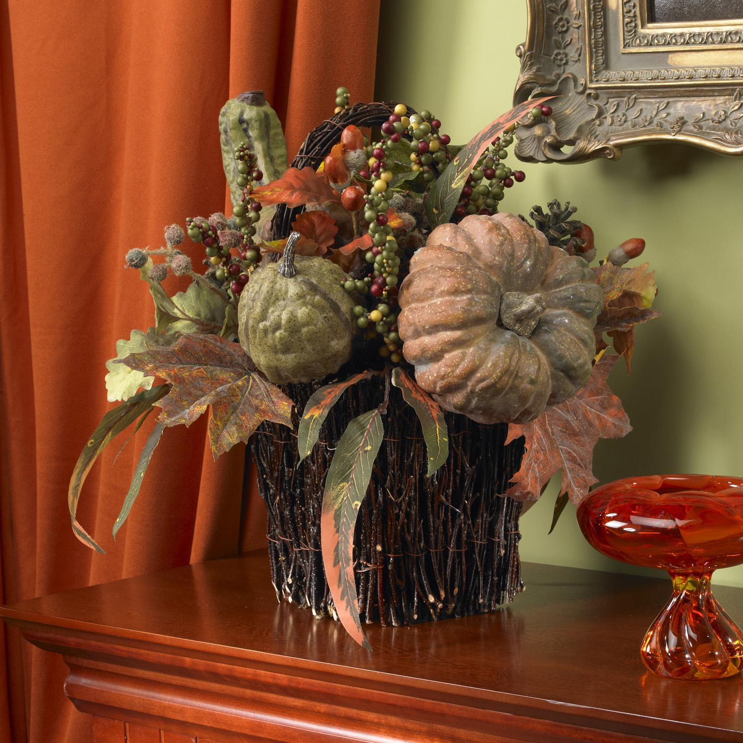 Nearly Natural Fall Pumpkin and Berry Table Silk Plant, B...