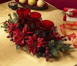 Poinsettia and Berry Triple Candelabrum Silk Plant