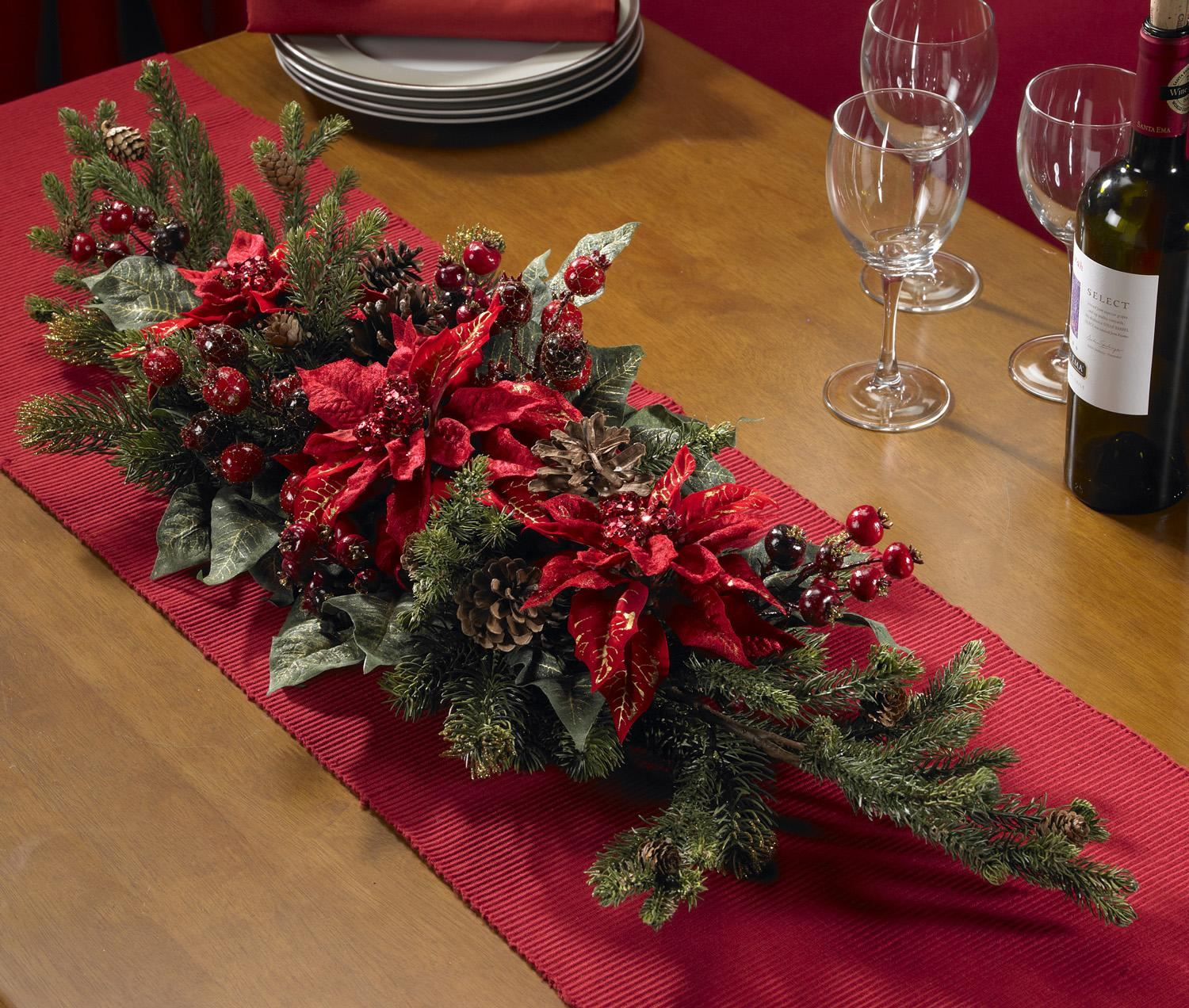 Poinsettia And Berry Centerpiece Silk Plant Free