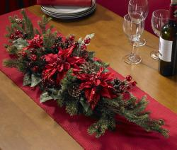 Poinsettia and Berry Centerpiece Silk Plant