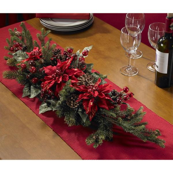Shop poinsettia and berry centerpiece silk plant on sale