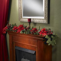 Poinsettia and Berry 60-inch Garland - Thumbnail 0
