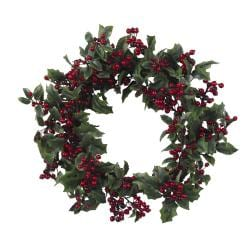 Holly Berry 24-inch Wreath - Thumbnail 1