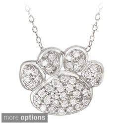 Icz Stonez Sterling Silver Cubic Zirconia Paw Print Necklace