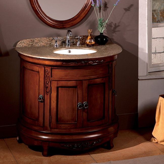Beautiful OVE Decors Vivian 36 Inch Single Sink Bathroom Vanity With Granite Top