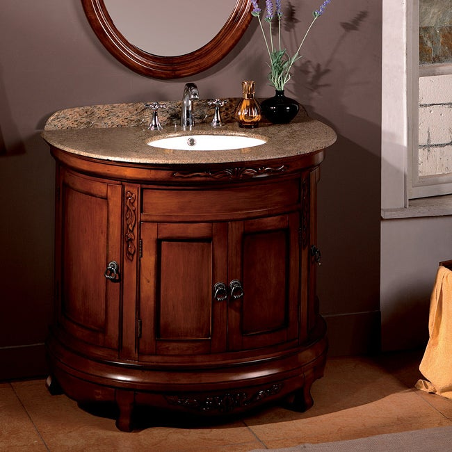 Bon OVE Decors Vivian 36 Inch Single Sink Bathroom Vanity With Granite Top