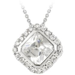 Icz Stonez Sterling Silver Cubic Zirconia Square Necklace