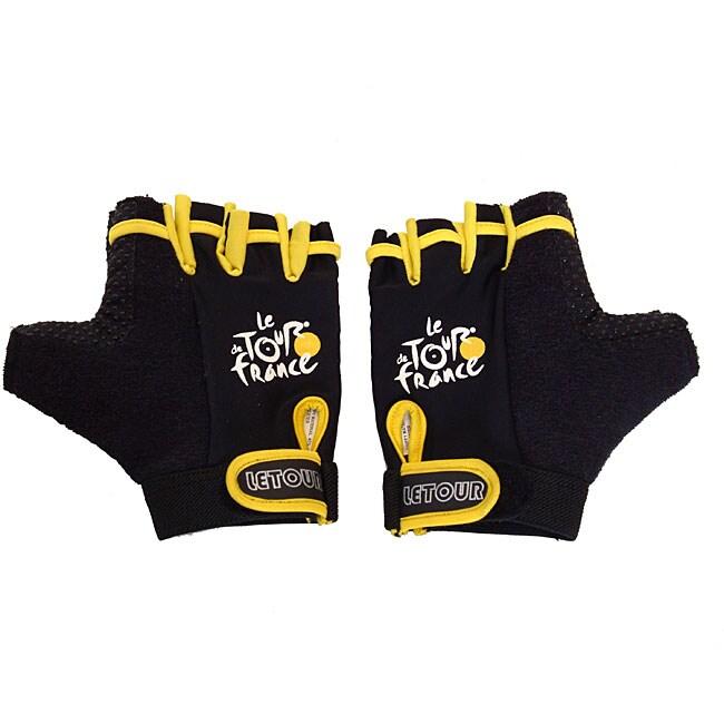 Black Tour De France Half-finger GEL Gloves with Hook and Loop-closure