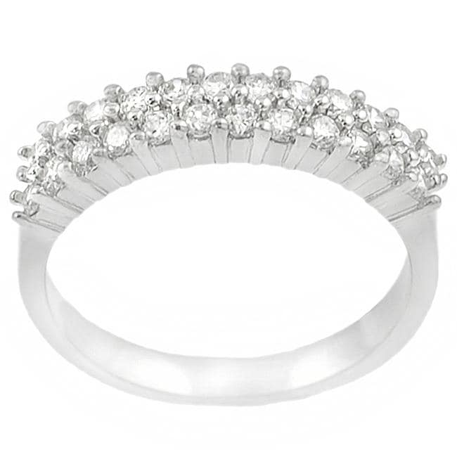 Journee Collection Sterling Silver Two-row Round-cut Cubic Zirconia Anniversary Ring