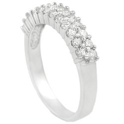 Journee Collection Sterling Silver Two-row Round-cut Cubic Zirconia Anniversary Ring - Thumbnail 1