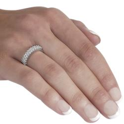 Journee Collection Sterling Silver Two-row Round-cut Cubic Zirconia Anniversary Ring - Thumbnail 2