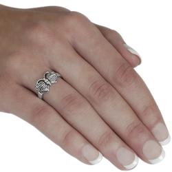 Journee Collection  Sterling Silver Butterfly Ring - Thumbnail 2