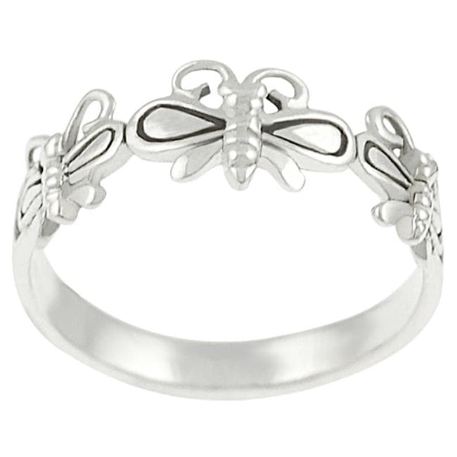 Journee Collection  Sterling Silver Three Butterfly Ring