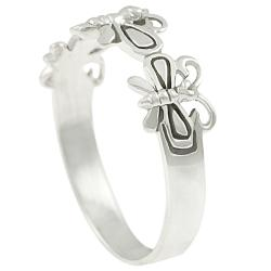 Journee Collection  Sterling Silver Three Butterfly Ring - Thumbnail 1