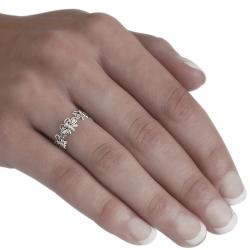 Journee Collection  Sterling Silver Three Butterfly Ring - Thumbnail 2