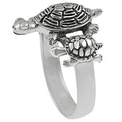 Journee Collection  Sterling Silver Three Turtles Ring - Thumbnail 1
