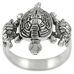 Journee Collection Sterling Silver Three Turtles Ring