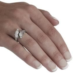 Journee Collection  Sterling Silver Two Dolphin Wrap Ring