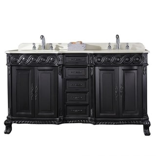 OVE Decors Tristan 60 Inch Double Sink Bathroom Vanity With Marble Top