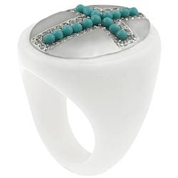 Journee Sterling Silver Created Turquoise Beaded Cross Ring