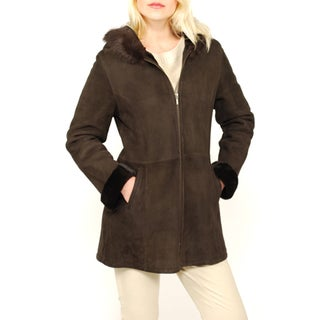 Lana Rafinatta's Women's Spanish Merino Shearling Hooded Coat