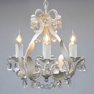 Gallery Mini 4-light White Floral Crystal Chandelier