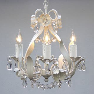 Buy white ceiling lights online at overstock our best lighting gallery white floral crystal 4 light mini chandelier aloadofball Image collections