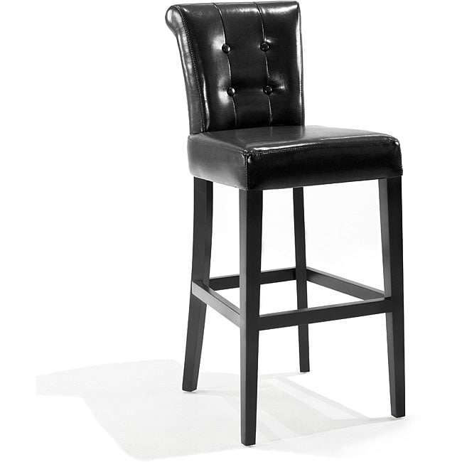 Tufted Back Black Bicast Leather Barstool Free Shipping