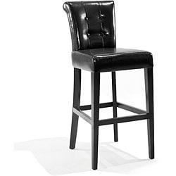 Tufted back Black Bicast Leather Barstool