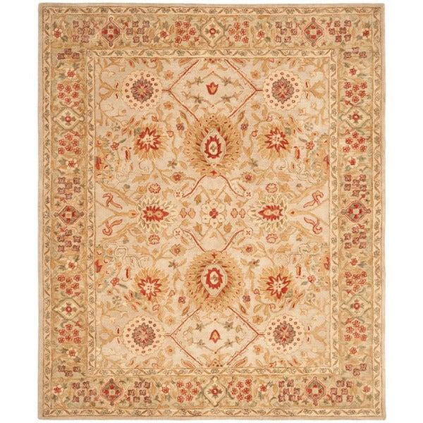 Safavieh Handmade Anatolia Oriental Grey Beige/ Sage Green Hand-spun Wool Rug (9' x 12')