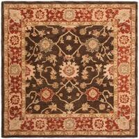 Safavieh Handmade Anatolia Oriental Kerman Olive/ Rust Hand-spun Wool Rug - 8' x 8' Square