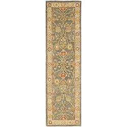 Safavieh Handmade Oushak Slate Blue/ Ivory Wool Runner (2'3 x 14')