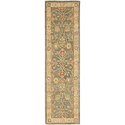 Safavieh Handmade Oushak Slate Blue/ Ivory Wool Runner (2'3 x 8')