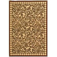 Safavieh Courtyard Garden Natural/ Black Indoor/ Outdoor Rug - 8' x 11'