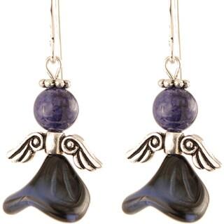 Sterling Silver 'Majestic Midnight Blue' Angel Earrings