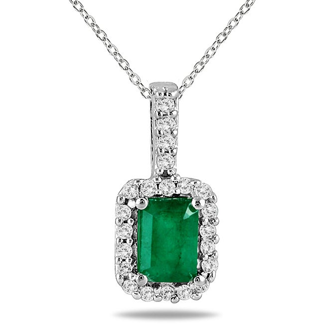 Marquee Jewels 10k Gold and Silver Emerald and 1/10ct TDW Diamond Necklace (H-I, I1-I2)