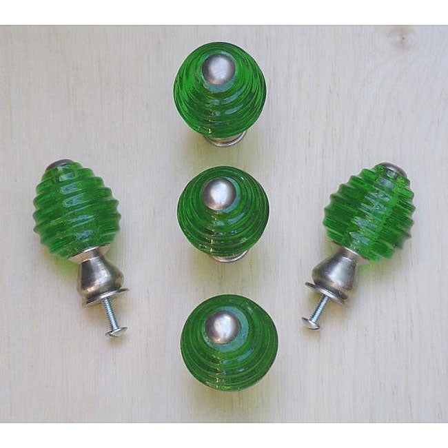 Emerald Green Beehive Glass and Satin Nickel Knobs (Pack of 5)