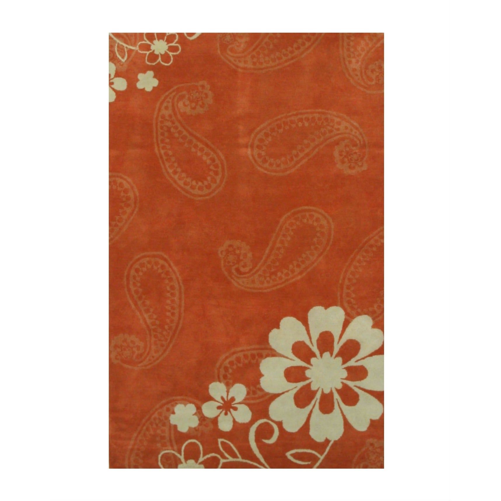 EORC Hand-tufted Wool Rust Contemporary Floral Ron Rug (O...