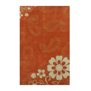 Hand-tufted Wool Rust Contemporary Floral Ron Rug (2 options available)