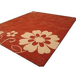 EORC Hand-tufted Wool Rust Ron Rug (7'9 x 9'9)