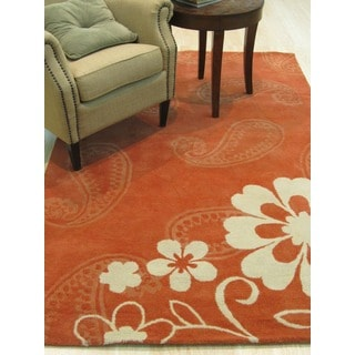 Hand-tufted Wool Rust Contemporary Floral Ron Rug