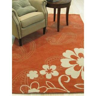 Hand-tufted Wool Rust Contemporary Floral Ron Rug|https://ak1.ostkcdn.com/images/products/5316426/P13124027.jpg?impolicy=medium