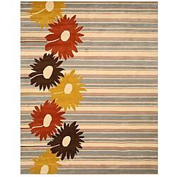 Hand-tufted 'Belinda' Blue Stripe Wool Rug - 7'9 x 9'9 - Thumbnail 0