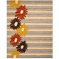Hand-tufted 'Belinda' Blue Stripe Wool Rug - 7'9 x 9'9